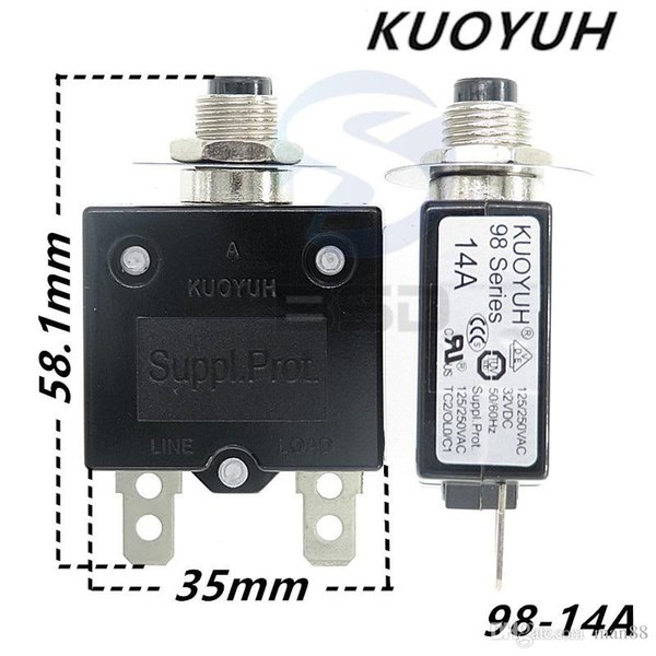 top popular Taiwan KUOYUH 98 Series-14A Overcurrent Protector Overload Switch 2021