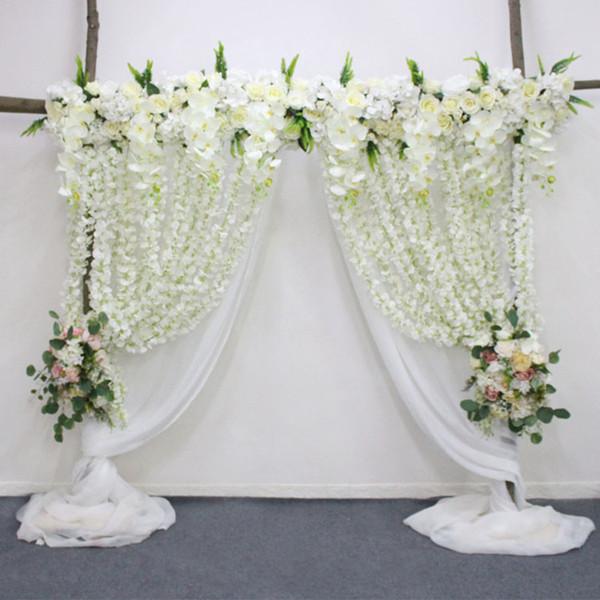 Orchidée artificielle fllower rangée décor pour bricolage mariage arche de fer plateforme T station de noël fond fleur mur fenêtre décor accessoires