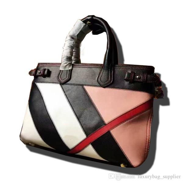 Designer Luxury Handbag Borse Borse Borse Moda Vera pelle di alta qualità Geometrica con colori abbinati Rivetto Borsa interna con cerniera