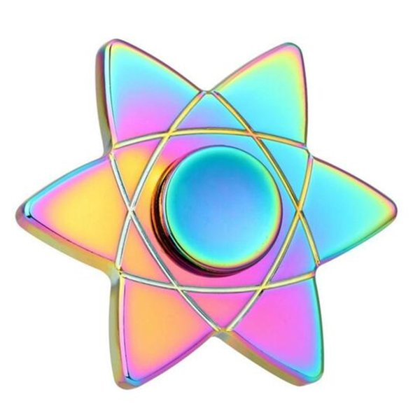 Sechseck Metall Regenbogen Farbe Zappeln Spinner Legierung Metall Gyro Zink Hand Spinner Sechs Arm Kreisel Rotation Lange Zeit Finger Spielzeug