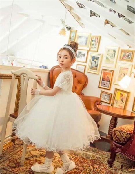 Düğün Boncuk Şerit Yarışması Önlük Bow doğum günü partisi Elbise için Beyaz Kutsal ilk komünyonu Elbise İçin Kız Dantel Tül Çiçek Kız Elbise