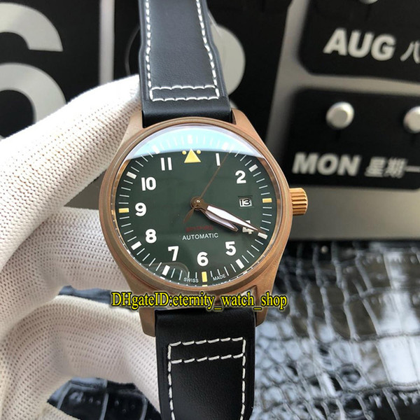 Top version PILOT'S WATCHES Spitfire fighter series IW326802 Luminous Green Dial Miyota 9015 Automatic Mens Watch Bronze Case Sport Watches