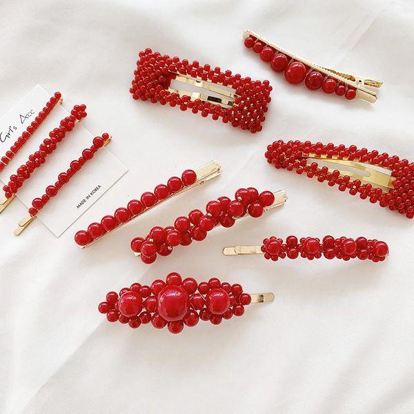 2019 Fashion Metal Hair Accessories Geometricr Red Color Hair Clip For Women Imitiation Pearl Hairpin Barrettes Hairgrip