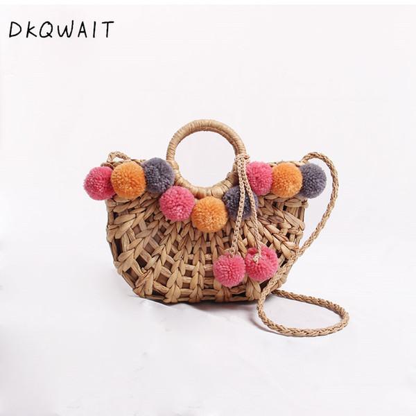 NEW Colorful Wool Ball Pom Beach Bag Shopping Basket Chic Woven Straw Handbags for Women Shoulder Bag Summer Totes female