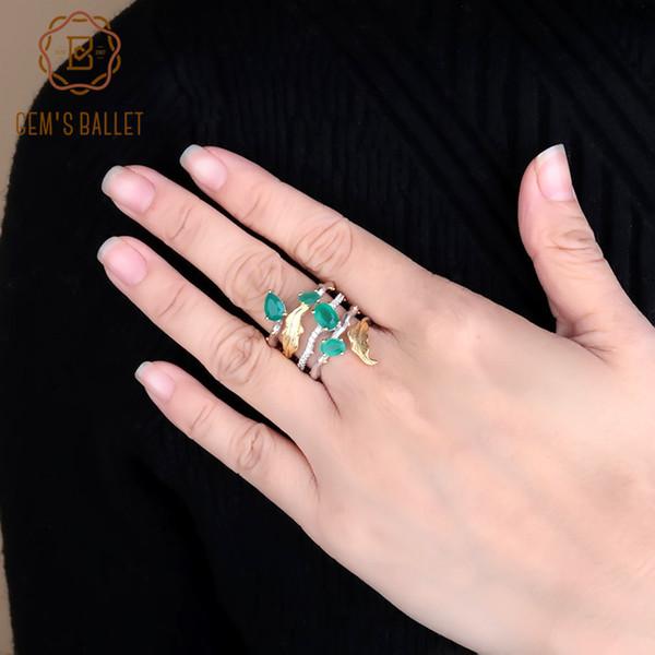 Gem Ballet 2.26ct Naturel Vert Agate Gemstone Anneaux De Doigt 925 Sterling Sliver Bande De Mode Bague Pour Les Femmes Cadeau Beaux Bijoux J190706