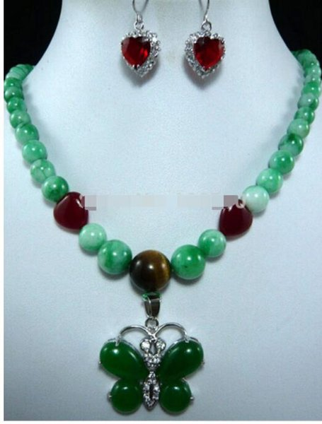 FREE SHIPPING+ + 5 colors!pearl-green necklace + pink/blue zircon butterfly pendant set can choose