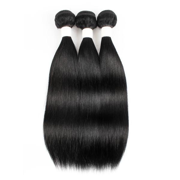 Kisshair Farbe # 1 Brasilianisches Glattes Menschenhaar Spinnt Jet Black 3 Bundle Deals Rohes Reines Peruanisches Malaysisches Indisches Kambodschanisches Haar