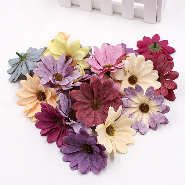 10pcs/lot 6cm Silk retro daisy artificial flower head wedding decoration DIY Wreath scrapbook craft fake flowers D19011101