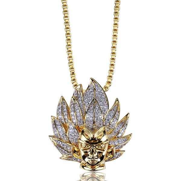 18 K Oro Iced Out CZ Zircone Super Saiyan Wukong Collana Pendente Twist Catena Pieno di Diamanti Hip Hop Rapper Monili Del Ritratto Del Fumetto per Gli Uomini