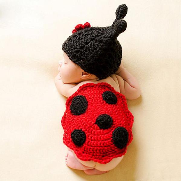 Cute Ladybug Design Crochet Newborn Animal Costume Photo Props Knitted Infant Boy Girls Crochet Baby Hats for Photo Shoot