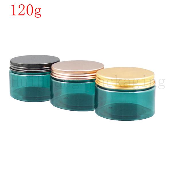 30pcs / lot 120g runden leere grüne kosmetische Creme Plastikflasche Gläser Behälter Hautpflege-Verpackung, Maske 120g PET grün Zinn jar