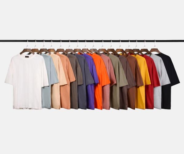 2019 Yeni Moda Ekip Boyun Artı boyutu Nefes Erkekler T-shirt Düz Renk Boy Erkek T Shirt