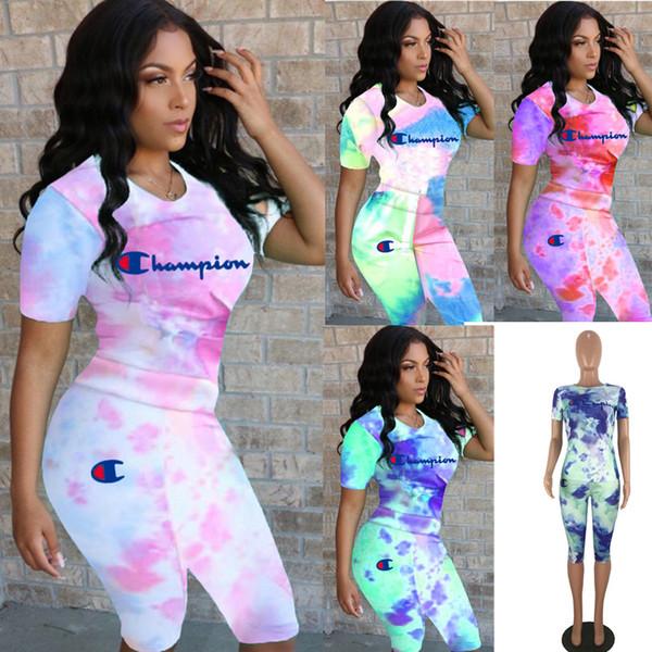 Цветной Tie-dyed Champions Print Женская одежда Летняя футболка с коротким рукавом + шорты 2 шт. Набор спортивного костюма S-3XL C3286