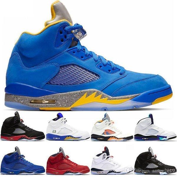 2019 Laney 5s мужская баскетбольная обувь 5 разводят международный рейс синий красный замша белый цемент металлический черный ретро Ретро Мужские спортивные кроссовки
