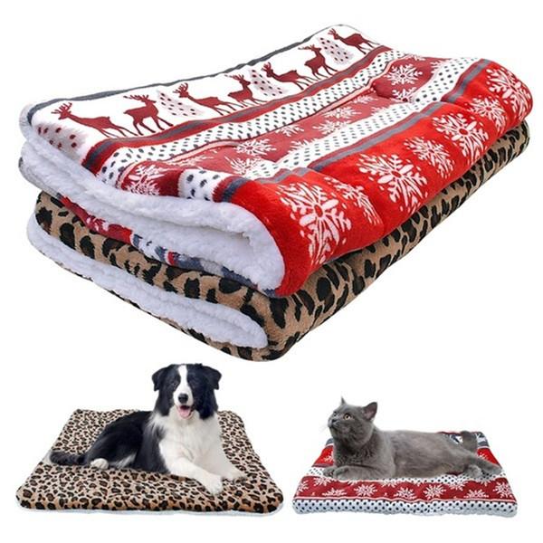 Mode Dog Bed Mat hiver chaud chiot Chat Maison Kennel Petit Moyen Grand Chiens Lits de Noël Blanket Sleeping Mat animal T2I5696