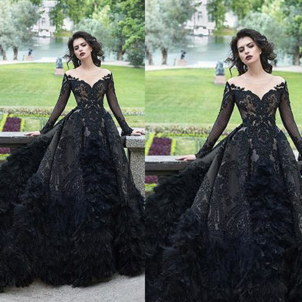 Black prom dre e heer crew neckline lace applique long leeve lace black feather ball gown evening dre e arabic formal dre e
