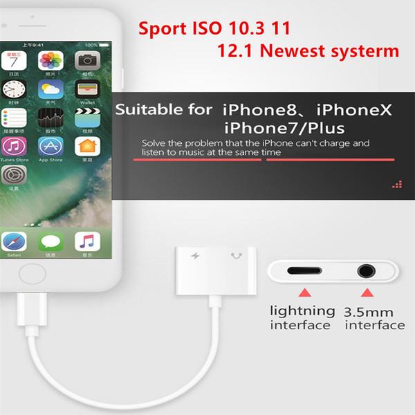 2 in 1 Dual-Kopfhörer-Audio-Adapter für iPhone X XS Max IOS 12.1 Für die Beleuchtung auf 3,5-mm-Jack-Aux-Ladegerät