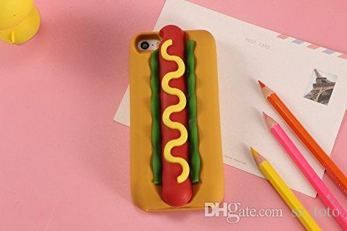 Mytoto Hot Dog 3D Cute Cartoon Lovely Hotdog sausage Soft Silicone Shell Case Cover For Iphone