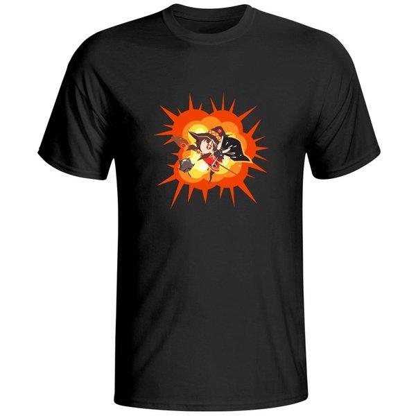 Explosión del mago Megumin Spell camiseta Marca animado impresión de la historieta de manga corta camiseta de algodón Diseño fresco divertido camiseta unisex
