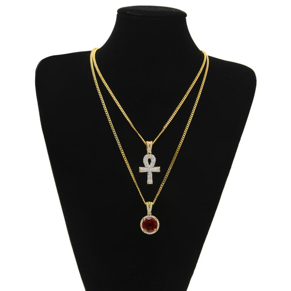 Hip Hop Egyptian Ankh Key of Life necklaces Sets For Mens women Round Ruby Iced out Cross Gold Silver pendant Cuban Chains Jewelry