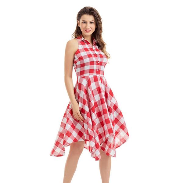 2018 Fashion Flared Plaid Leisure Vintage Dresses Summer Women Casual Shirt Dress knee-length