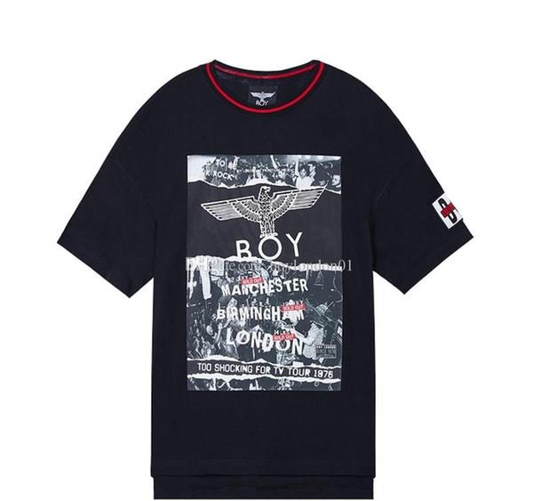 Boy London para hombre diseñador de la camiseta lujo parejas Hombres Mujeres alta calidad de manga corta Diseñador Boy Tees Negro
