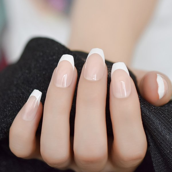 Nude Coffin French White falsas naturais unhas falsas Imprensa sobre Flat bailarina Nails Dicas Arte diária Escritório 24pcs Manicure dedo desgaste