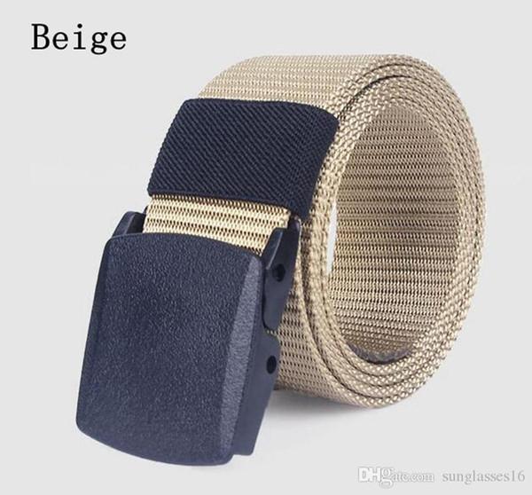 43 To 63 Inch Khaki Beige Men Belt Mens Designer Belts Ceinture Waistband Weave Canvas Military Plastic Buckle Outdoor Sports Waist Strap