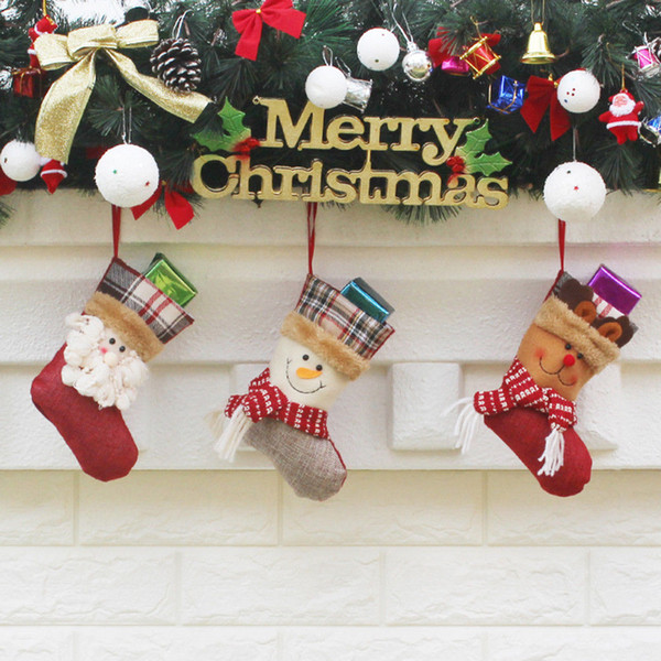 2018 Newest Hot Christmas Stocking Plaid Santa Claus Sock Gift Bag Holder XMAS Tree Ornaments