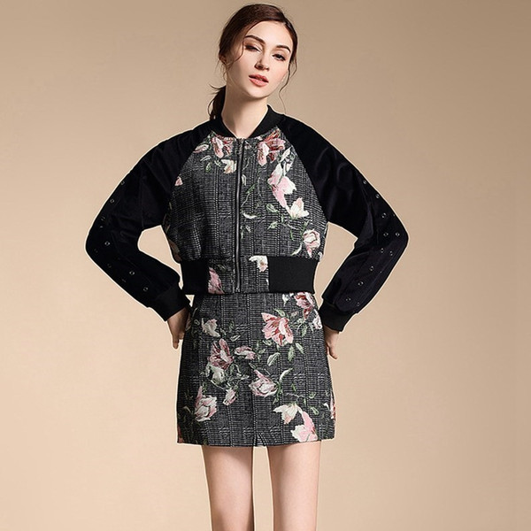 2019 New Women Clothing Set Baseball Coat Rivet Vintage Retro Flower Floral Printing Tops And Zipper Twinset Skirts Suit Dz003
