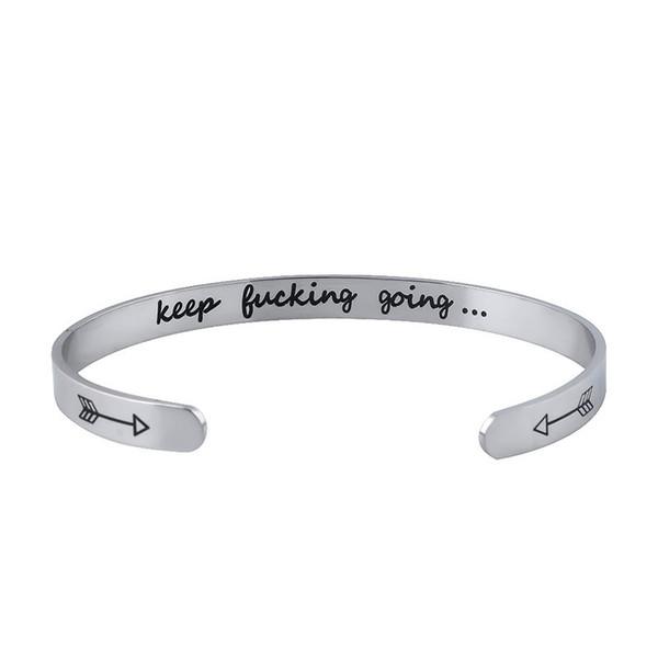 Cuff Bracelet Double-sided Letters Love Bracelet An Arrow Through Heart Stainless Steel Carving Inspiring Lady GiftCuff Bracelet Double-side
