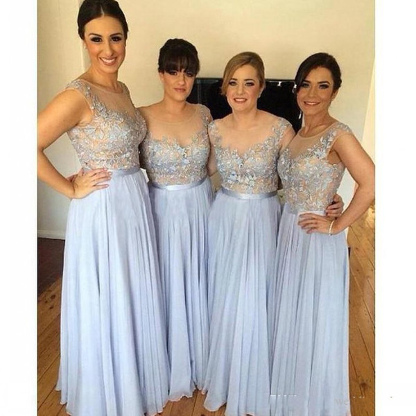 New Illusion Top Long Bridesmaid Dresses Sheer Lace Scoop Neckline Bridesmaids Dress Women Formal Wedding Guest Gowns