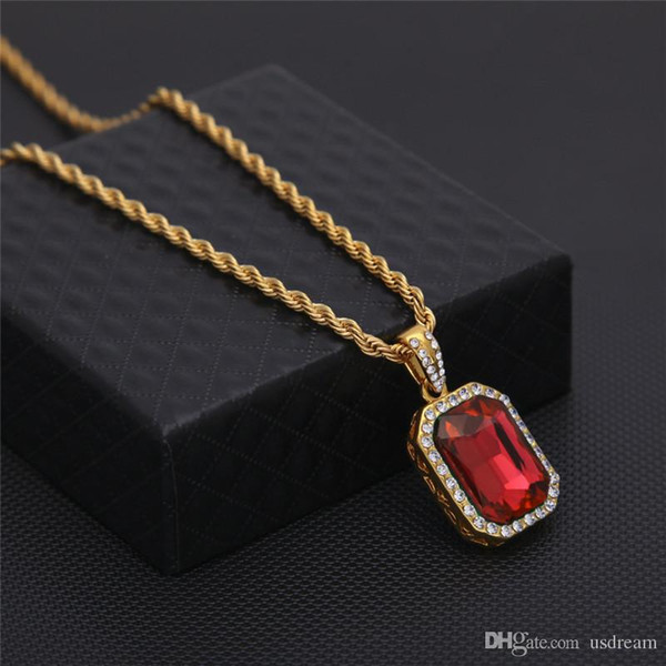 8 Type Mini Ruby Necklace Crystal Square Gemstone Pendant Gold Silver Chain Fashion Hip Hop Jewelry for Men Women DROP SHIP 162647