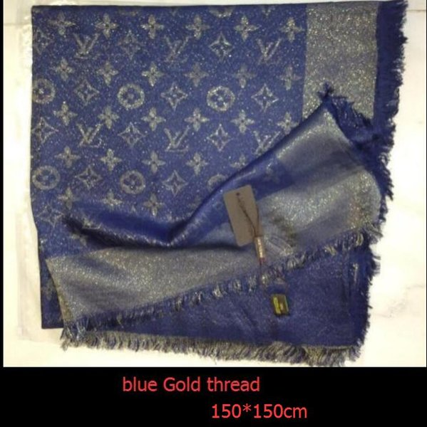 Factory Sell Top Quality Celebrity design classic Wool cashmere scarf Wrap shawl Letter printing Scarves 140*140cm navy blue gold thread