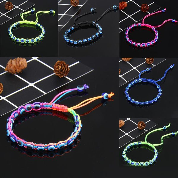 Mal Devil Eyes ajustável pulseira trançada corda Unisex Vintage Handmade Hamsa Fátima Bangle olho mau Beads Espiritual pulseira Sorte
