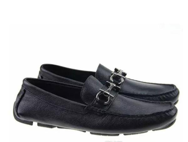 Soft Leather men leisure dress shoe part gift doug shoes Metal Buckle Slip-on Famous brand man lazy falts Loafers Zapatos Hombre 40-46
