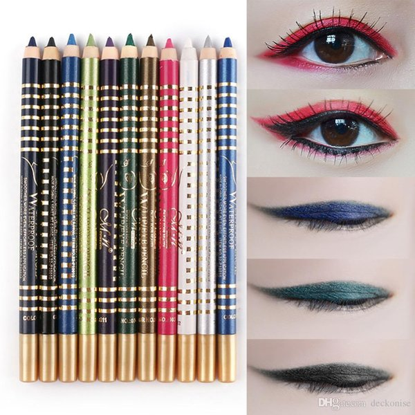 Professional Eye Liner Pencil Set Waterproof Glitter Coloful 12 Colors/lot Longlasting Shimmer Eyeshadow Eyeliner Pen Kit