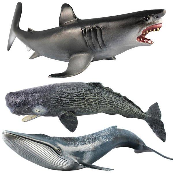 Ocean Sealife Animals Large Emulational Blue Whale Sperm Whale Shark Animal Model For Kids Learning Toy Children Gift Y190604