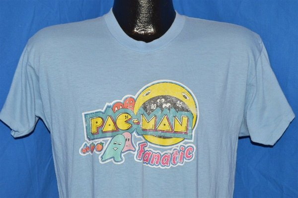 vintage 80s PAC MAN FANATIC VIDEO GAME IRON ON BLUE SOFT t-shirt MEDIUM M Funny free shipping Unisex Casual top
