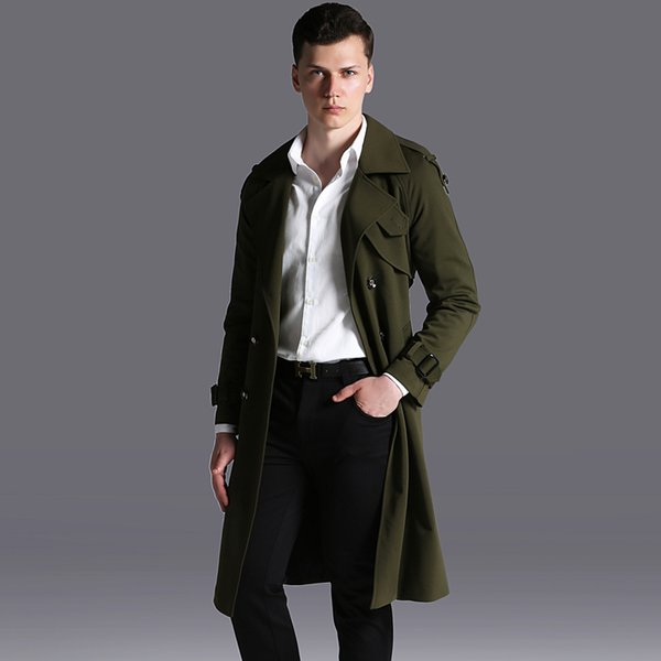 New Mens Coats Luxury Long Style Windbreaker Double Breasted Mens Jackets Plus Size 6xl Spring And Autumn Khaki Trench