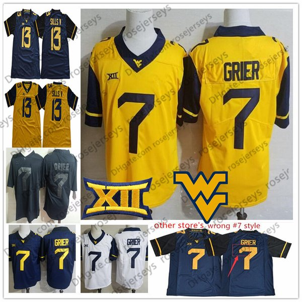 2019 2019 NCAA West Virginia Mountaineers  7 Will Grier 13 David Sills V  Gold Yellow White Navy Blue Black Blank College Football WVU Jerseys From  ... 5e6b8e396