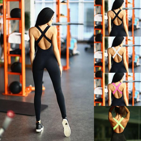 Yoga Gym Jumpsuit costume noir sport Pantalons femme sport Yoga costume noir Gym Workout Bandage Combishort Pantalons Jumpsuit Barboteuses