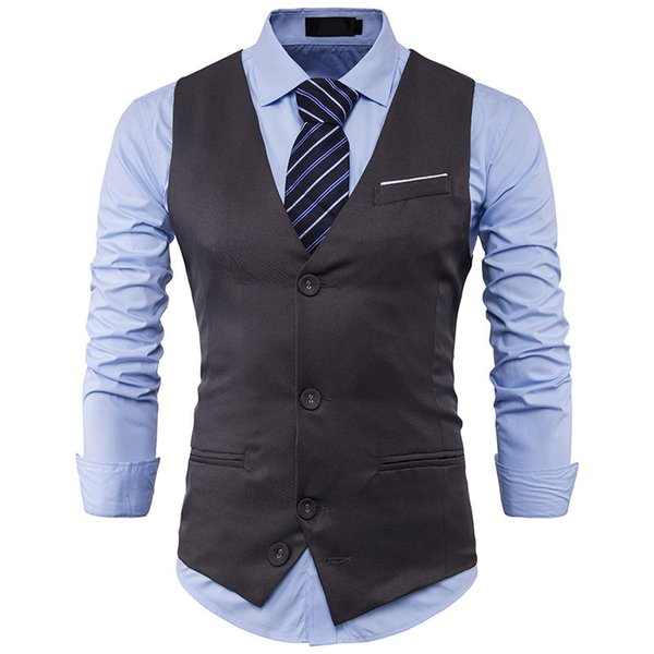 Vests Men Gentlemen's Suit Waistcoat with Single-row Three-button Matching Color on The New Fashion Chest