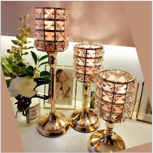 best selling Circular crystal candlestick Luxury Golden Crystal Candleholder Candleholder Household Feather Romantic Light Candlelight Dinner Projects
