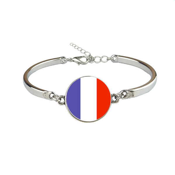 France National Flag World Cup Football Fan Time Gem Glass Cabochon Button Bracelet Silver Link Chain Cuff Jewelry For Boys Girls Nice Gifts