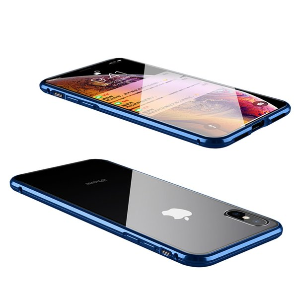 Full Cover for Iphone XS XS Max Magnetic Adsorption Tech Case Magnets Aluminum Frame High Sensetivity Dual Curved Tempered Glass