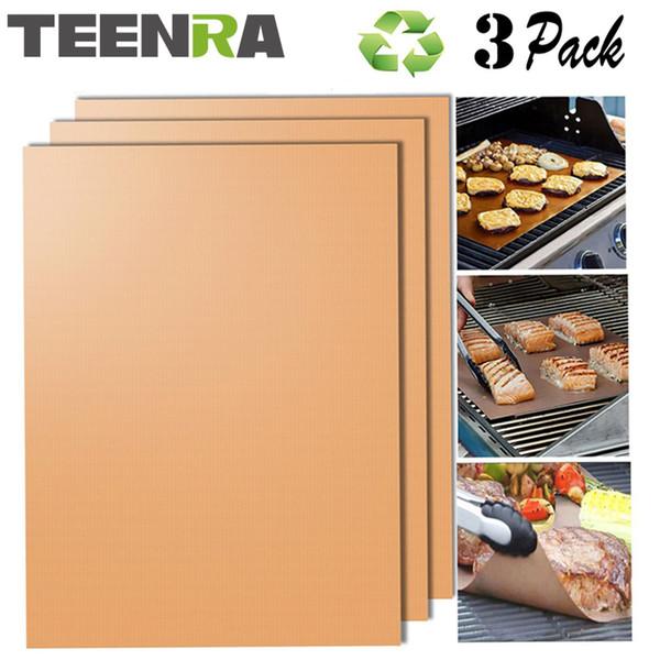 Teenra 3 unids Reutilizable Rejillable de oro Estera antiadherente Bbq Liner Teflon Hornear Hoja C19041501