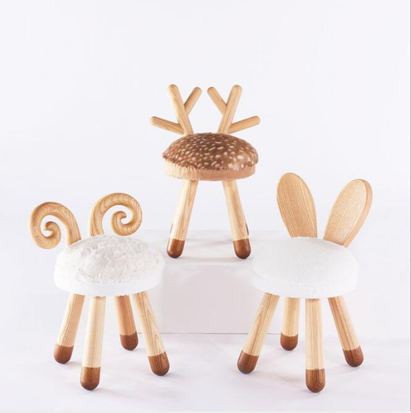 best selling Fawn stool animal chair children's gift kindergarten solid wood meow furniture Small chair in children's room