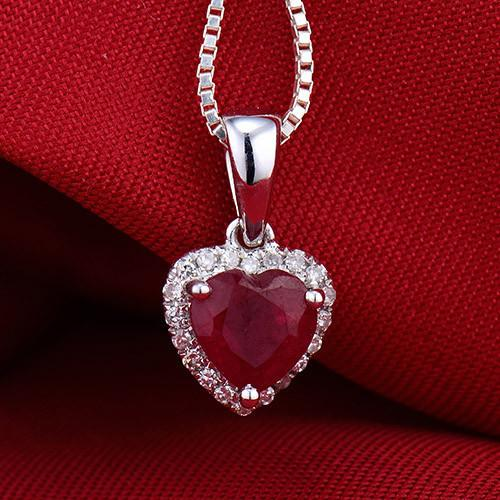 Hot Sell Solid 18k White Gold Diamond Red Ruby Heart Pendant Necklace Free Shipping Y19052301