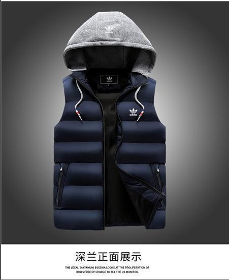 Novo estilo de inverno homens roupas Men down-algodão Colete com capuz Moda esporte Quente para baixo jaquetas Colete Luz Plus Size Mens Coletes de Trabalho Cintura